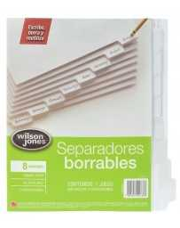 Separador Blanco Borrable C/8 Divisiones Wilson Jones