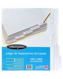 Separador Blanco Borrable c/5 Divisiones Wilson Jones
